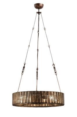 "Zig Zag 24"" Chandelier - Iron, Brass, Glass"