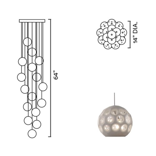 Systo Petra 16 Chandelier Round