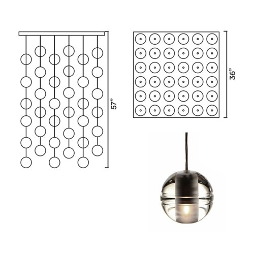 Systo Pallino 36 Chandelier Square Large