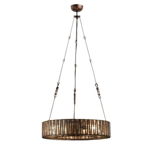 """Zig Zag 36"""" Chandelier - Iron, Brass, Glass"""
