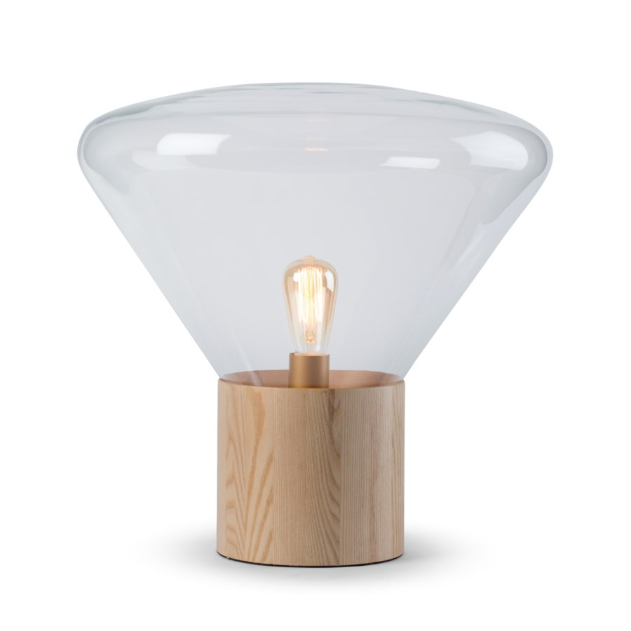 Yoko Lamp - (Medium) - Natural Wood, Clear Glass