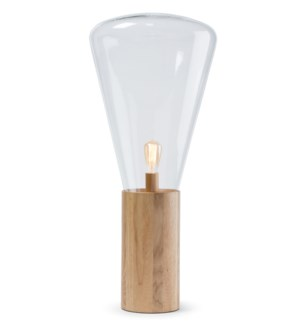 Yoko Lamp - (Large) - Natural Wood, Clear Glass