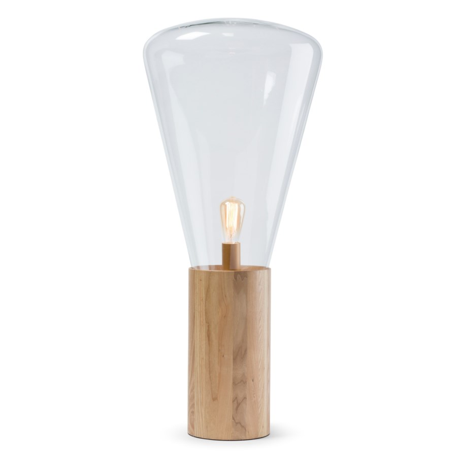 Yoko Lamp - (Large) - Natural Wood, Clear Glass