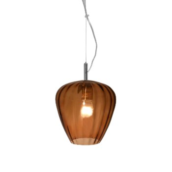 Hermione Pendant (Sm) - Nickel, Brown Lineo Glass