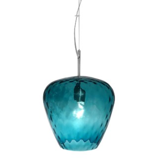 Hermione Pendant (Lg) - Nickel, Smoke Blue Tuft Glass