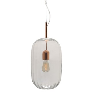 Lady Di Oval Pendant - Copper, Cristale Lineo Glass