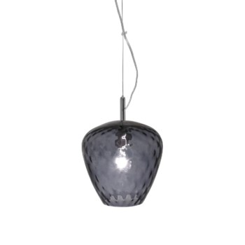 Hermione Pendant (Sm) - Nickel, Smoke Tuft Glass