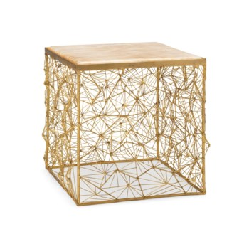 Momo Table - Natural Brass, Glazed Marble