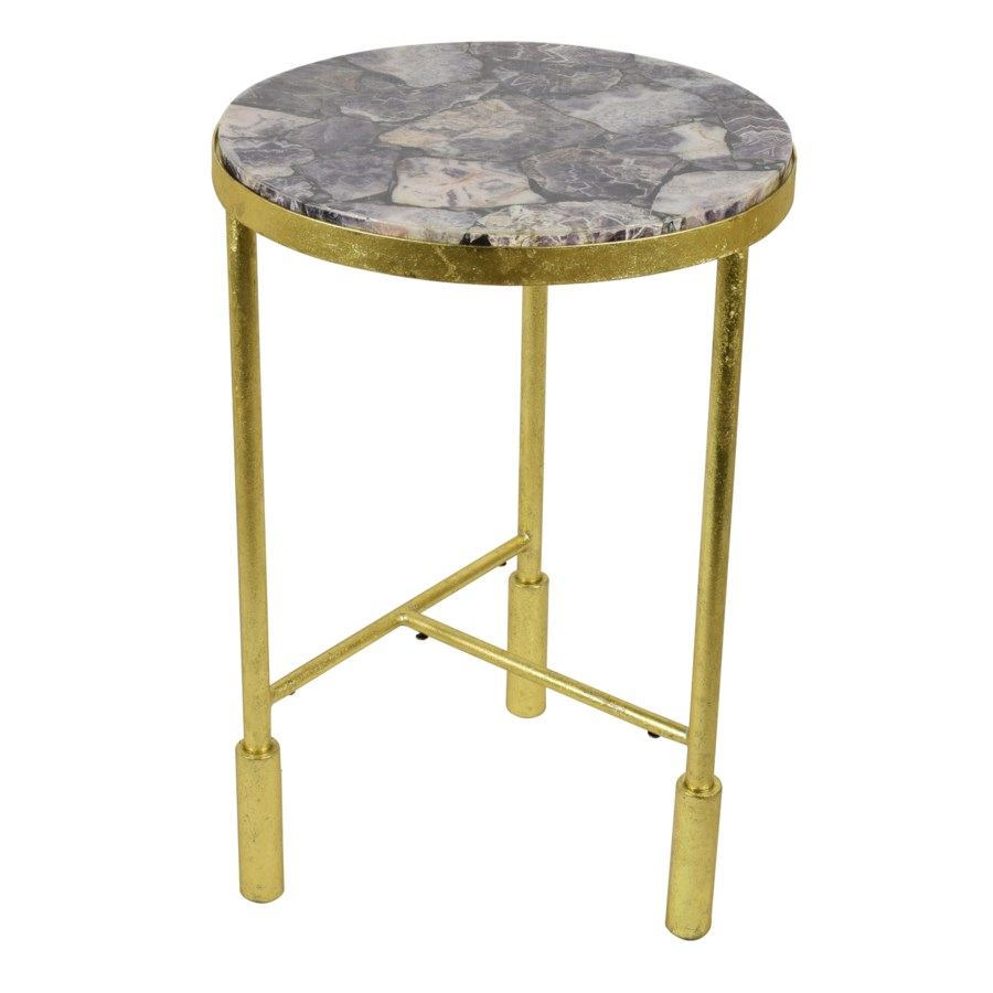 Olga Occasional Table - Amethyst Top, Rose Gold