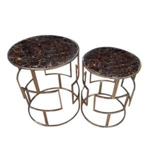 Gloria Accent Table - Brass Metal, Glass Top