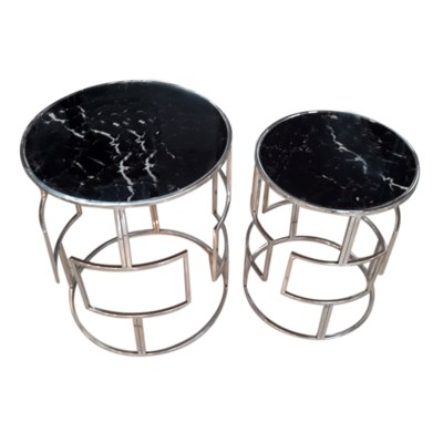 Gloria Accent Table - Polished Chrome Metal, Glass Top