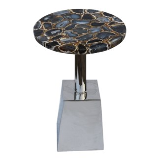 Billie Accent Table (Square) - Agate Top, Gold Infused