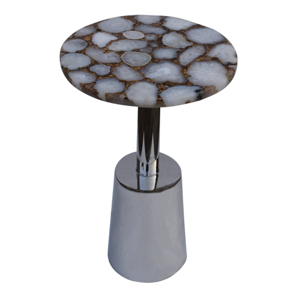 Billie Accent Table (Round) - Ivory Top, Gold Infused