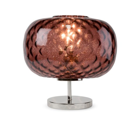 Charlotte Flat Table Lamp - Nickel, Marsala Tuft Glass