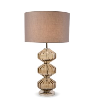Wallis Table Lamp - Nickel, Smoke Brown Lineo Glass