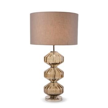 Wallis Table Lamp - Nickel, Smoke Brown Lineo Glass