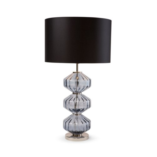 Wallis Table Lamp - Nickel, Smoke Blue Lineo Glass