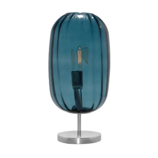 Charlotte Oval Table Lamp - Nickel, Marine Blue Lineo Glass