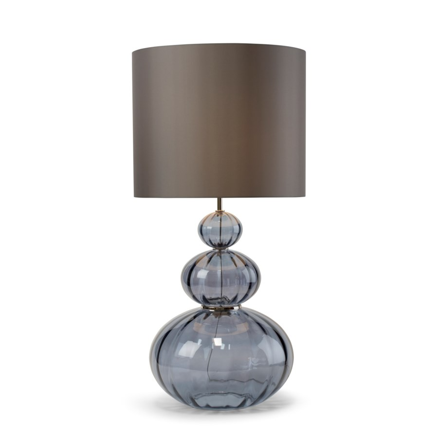 Maggie May Table Lamp - Nickel, Smoke Blue Lineo Glass