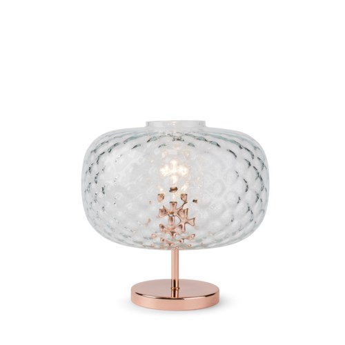 Charlotte Flat Table Lamp - Copper, Cristale Tuft Glass