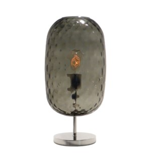 Charlotte Oval Table Lamp - Nickel, Smoke Green Tuft Glass