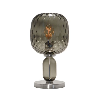 Hooray Harriet Table Lamp - Nickel, Smoke Green Tuft Glass