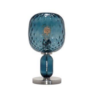 Hooray Harriet Table Lamp - Nickel, Marine Blue Tuft Glass