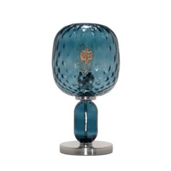 Hooray Harriet Table Lamp - Nickel, Marine Blue Tuft Glass