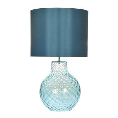 Augustus Table Lamp - Nickel, Smoke Blue Tuft Glass