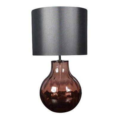 Augustus Table Lamp - Nickel, Marsala Lineo Glass