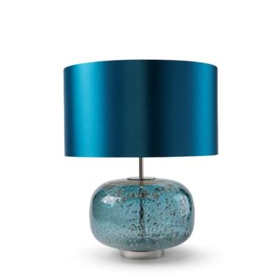 Jackie Table Lamp - Nickel, Blue Lava Glass