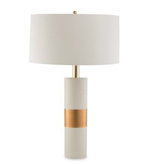 Obi Lamp - Ivory Ceramic, Gold Leaf Detail