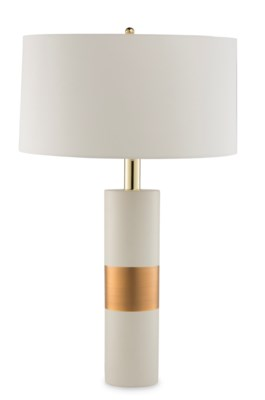 Obi Lamp - Ivory Ceramic, Gold Leaf Detail