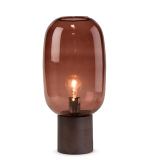 Pippa Table Lamp - Dark Wood, Marsala Glass