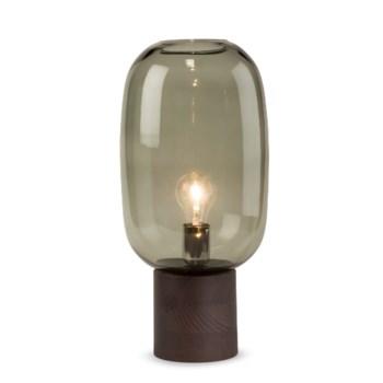 Pippa Table Lamp - Dark Wood, Smoke Green Glass
