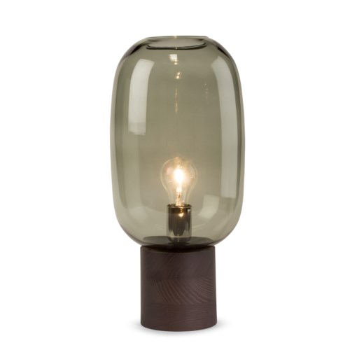 Pippa Table Lamp - Dark Wood, Smoke Green Glass
