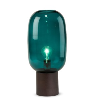 Pippa Table Lamp - Dark Wood, Marine Blue Glass