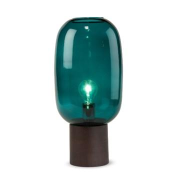 Pippa Table Lamp - Dark Wood, Marine Blue Glass