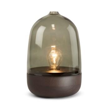 Georgie Table Lamp - Dark Wood, Smoke Green Glass