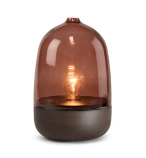 Georgie Table Lamp - Dark Wood, Marsala Glass