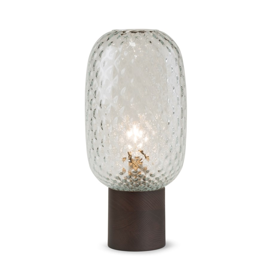 Pippa Table Lamp - Dark Wood, Clear Tuft Glass