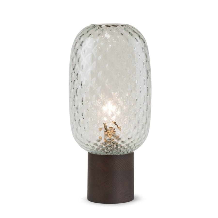 Pippa Table Lamp - Dark Wood, Clear Tuft Glass