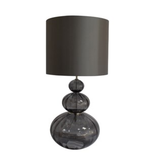 Maggie May Table Lamp - Nickel, Smoke Grey Lineo Glass