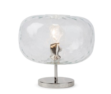 Charlotte Flat Table Lamp - Nickel, Cristale Tuft Glass