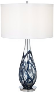 INDIGO SWIRL ART GLASS TABLE LAMP (87-6910-23)