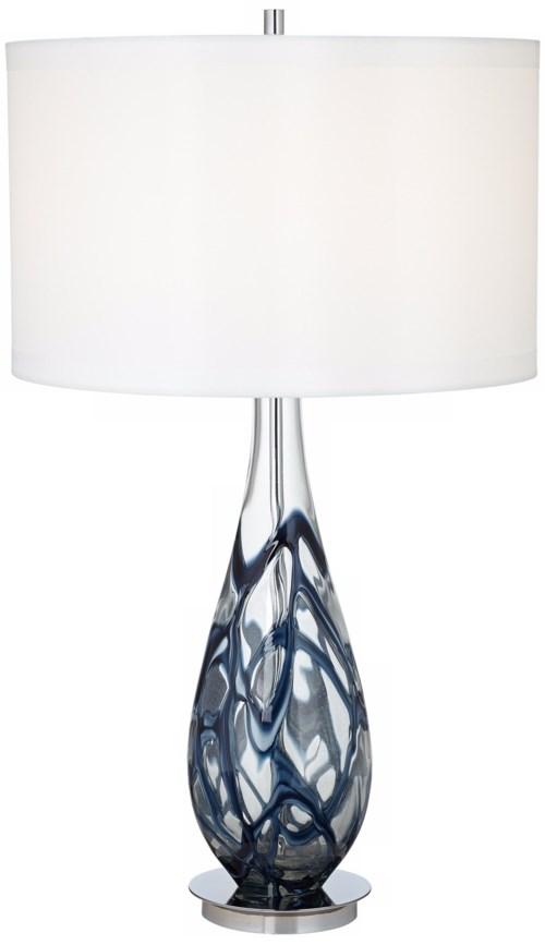 INDIGO SWIRL ART GLASS TABLE LAMP (87-6910-23)