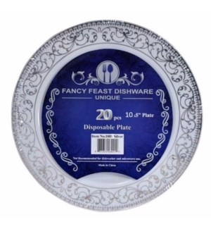 20pc Set Silver Disposable Plate 10.25in