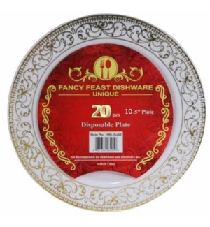 20pc Set Gold Disposable Plate 10.25in