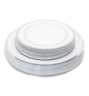 50pc Silver Rim Disposable Dinner/Salad Plate Set