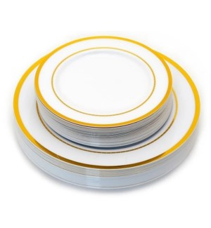 50pc Gold Rim Disposable Plate Dinner/Salad Set